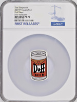 2019 THE SIMPSONS DUFF BEER 1 OZ. SILVER COIN - NGC PF70 FIRST RELEASES