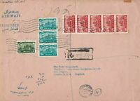 mid east to british india  steam navigation co 1965 huge stamps cover ref 12996