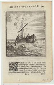 Heringfang HERINGE Fischer Original Kupferstich um 1710 Plattbodenschiff Fische