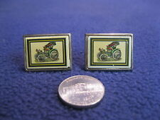 Gold Plated Rectangle Ceramic Plate Antique Automobile Cufflinks       CE12