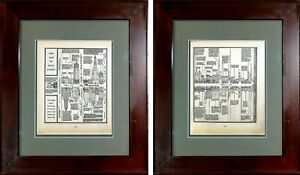 ORIGINAL Framed Fortune Magazine March 1930 Map of Wall Street