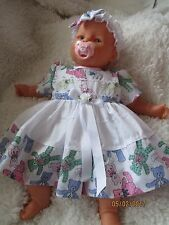 "Handmade vêtements pour bébé 12-18 mois/reborn 24"" blanc teddy imprimer robe set"