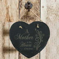 Personalised Birthday Home Gift Mother Heart Of Home Slate Hanging Sign Plaque
