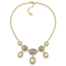 $85 Carolee Gold Tone MIRROR IMAGE Oval Pave Crystal Drop Frontal Necklace