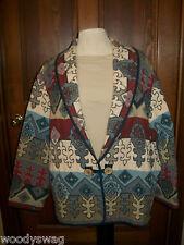 Vintage Flashback Jacket Fleur De Lis and Graphic style Size Large Cotton Retro