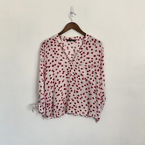 Zara XL White Red Floral Long Sleeve Tie Cuff Top