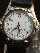 swiss military wenger mens watch,date Beautiful White Face Silver Dail 38mm Case