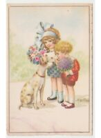 Bertiglia Card D'Epoca Children Flower Bunches on Dog Ribbon Blue Hair