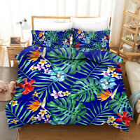 3D Tropical Floral Leaves Quilt Cover Set Pillowcases Duvet Cover 3pcs Bedding 5