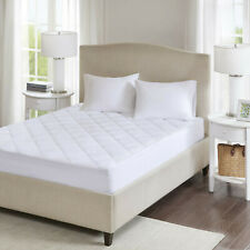 Quilted Mattress Pad Topper Cover Protector Fitted Hypoallergenic Queen White