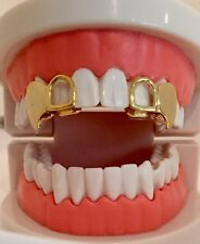 14K Gold Plated Mouth Teeth Grillz Double Cap Open Face Fangs Upper 2 pc Set L&R