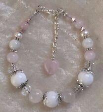 Fertility Pregnancy Healing bracelet Alabaster Rose Quartz Moonstone