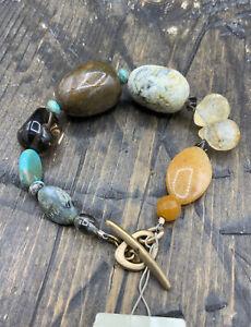 Barse Candela Toggle Bracelet- Matte Bronze & Mixed Stones- NWT
