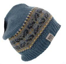 Kusan Mens 100% Wool Floppy Beanie hat in Blue