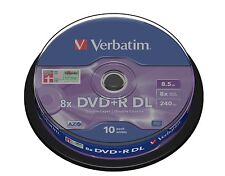 1x10 verbatim DVD + R DL doble capa 8.5gb 8x mattsilver 43666 (World *) nuevo 003-226