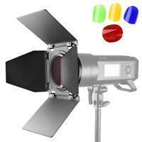 Godox BD-08 Barn Door Kit Honeycomb Grid+4 Color Filter For Godox AD400Pro Flash