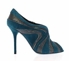 NEW $1000 DOLCE & GABBANA Blue Suede Snakeskin Open Toe Pumps Shoes EU37.5 / US7
