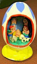 1970s Handmade/Painted Nativity Scene in Egg Shape Manger w/7 Miniature Figures