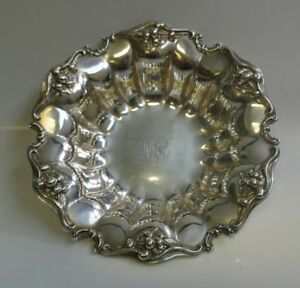 Large R. Wallace Sterling Silver Cherry Repousse Bowl - Model Number 1174
