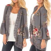 Women Lace Floral Open Cape Casual Coat Loose Blouse kimono Jacket Cardigan UK