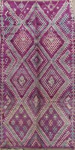 Vegetable Dye Purple Authentic Moroccan Berber Area Rug Plush Wool Handmade 6x12