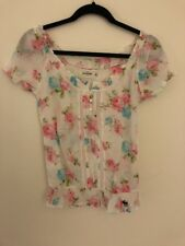 Abercrombie Girls Floral Sheer Top Size XL Shirt