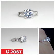 Brilliant 7mm Cubic Zirconia Solitaire Pinky Ring Fashion Women Size 3 6