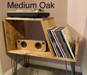 Handmade Pine record player cabinet / Drinks Cabinet With Metal Hairpin Legs