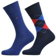 Tommy Hilfiger Men's 2 Pack Cotton Logo Socks, Blues / Check. 2 Pairs of Sox