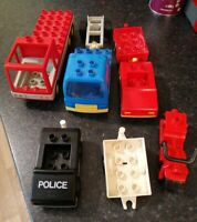VINTAGE LEGO DUPLO VEHICLES POLICE CAR TRUCK TRAILERS CAR ALL NICE CONDITION
