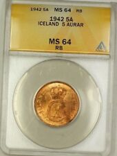 1942 Iceland 5A Five Aurar Copper ANACS MS-64 RB Red-Brown (Better Coin) (B)