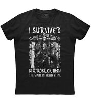 Mens I Survived Because the Wolf Inside Me T Shirt Strong American Viking Fight