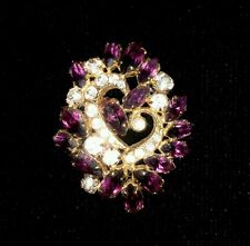 Vintage Purple & White Czech Crystal Pin Brooch