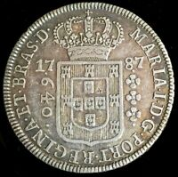 1787 SILVER BRAZIL 640 REIS MARIA I CROWNED ARMS COIN EXTREMELY FINE CONDITION