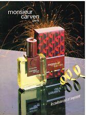 """Publicité Advertising 1984 Eau de Toilette pour homme """"Monsieur Carven"""""""