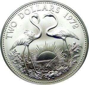 1972 BAHAMAS $2 STERLING SILVER ~ FLAMINGOES ~ GEM BRILLIANT UNCIRCULATED COIN