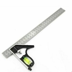 Professional Combination Square Angle Ruler Adjustable Steel Protractor Right