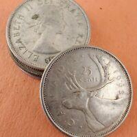 [Lot of 4] Canada Quarter 1937-1966 80% Silver