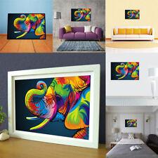 Peinture Huile Tableau Abstraite Éléphant Coloré Mural Art Décor Salon Maison NF