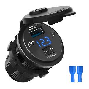 12V Car Cigarette Lighter Socket Dual QC3.0 USB Ports Fast Charger Power Adapter