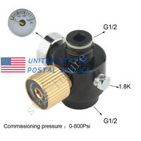 Co2 Adjustable 0-800Psi Output Valve Paintball PCP Tank Compressed Regulator US