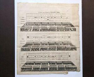 "1749 Engraving NOAH'S ARK View & Plan Large 10x11.5"" Antique Christian Art Print"