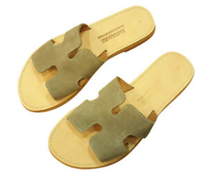 Greek Handmade SUEDE Leather Sandals Ancient Style Flat Women Shoes Gladiator