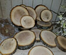 "6 pcs Live Edge RED OAK Wood Disk Slices 4-6"" Wedding Crafts Rustic Centerpieces"