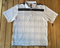 FJ Men's Short Sleeve Half Button Up Polo Shirt Size L In White D5