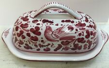 Deruta pottery-Oval Butterdish With Arabesco Pattern.Made/painted by hand-Italy