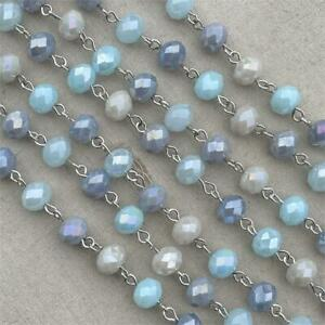 Gray Blue Crystal Rondelle Beaded Rosary Silver Eyepin Chain 8mm 2ft per Pkg
