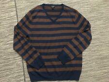J Crew Merino V-neck Sweater Medium-Stripe Medium Long Sleeve Brown/Blue 95550