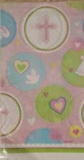 """2 Baby Girl Sweet Christening Baptism Baby Shower Tablecovers 54"""" x 102"""" - PINK"""