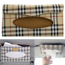US Auto Car Interior Sun Visor Tissue Paper Box Case Holder Decor Plaid Pattern